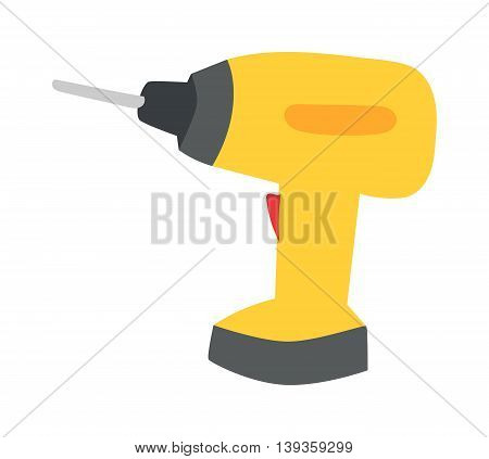 Drill hand tool flat vector isolated on white background.