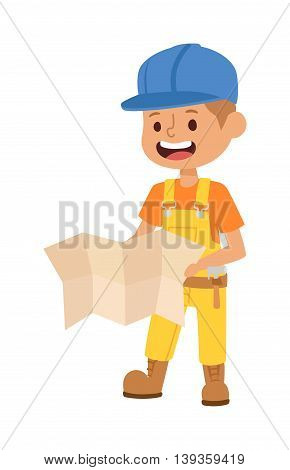 Builders kid with plan builder with tools. Fun young profession.