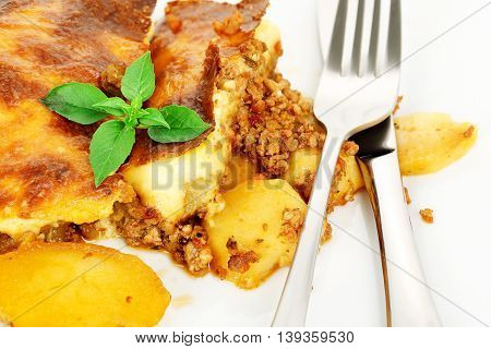 traditional greek moussaka with eggplant potatoes minced meat and bechamel sauce