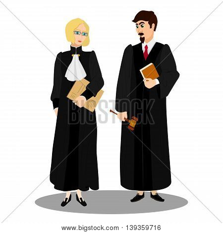 Judges in professional robes with judicial gavel. Vector illustration.