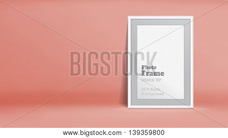 Vector, Blank Photo Frame In Pastel Rose Orange Studio Room, Template Mock Up For Display Or Montage