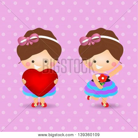 cute girl cartoon holding hearth sign and flower