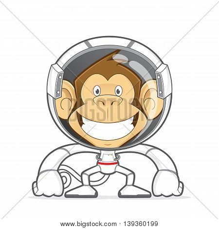 Clipart picture of a monkey cartoon character wearing astronaut costume