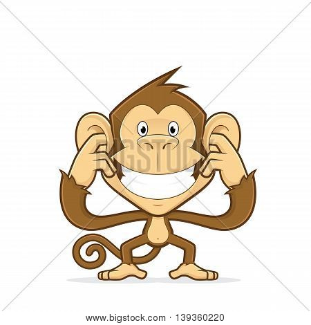 Clipart picture of a monkey cartoon character closing his ears