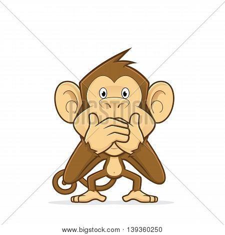Clipart picture of a monkey cartoon character closing his mouth
