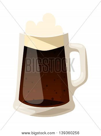 Beer glass isolated on white background. Dark beer cup alcohol alcohol drink.