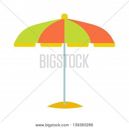 Cute multi colored beach umbrella in flat design style.