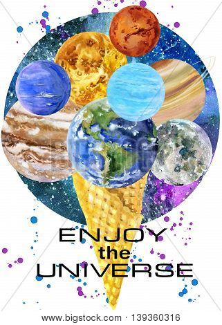 T-shirt design. Universe T-shirt print. t-shirt graphics with Planet of the solar system.