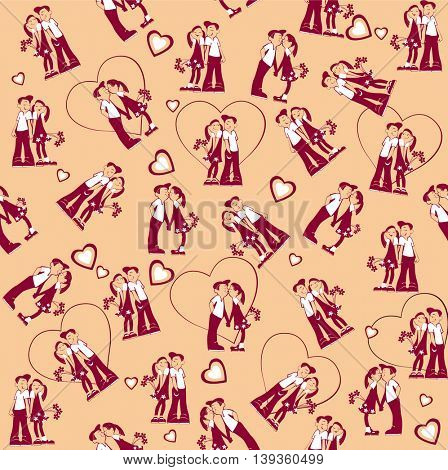 seamless cartoon  pattern of cute girl and boy