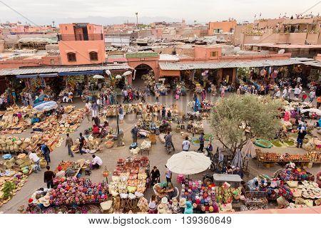 MARRAKECH MOROCCO - APR 28 2016: Berber market in the souks of Marrakech