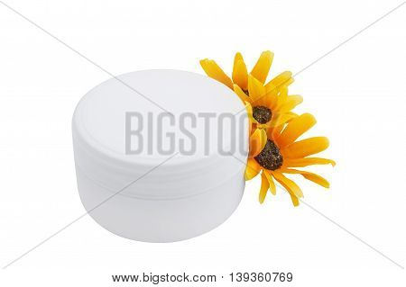 Cosmetic cream and flowers, spa, skincare or haircare or bodycare, isolated on white