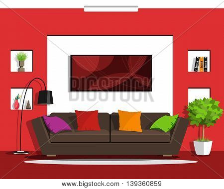 Cool graphic living room interior design with furniture. Flat style vector illustration