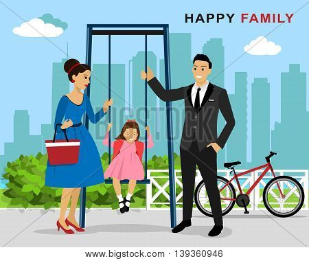 Happy family on playing ground: mother and father pushing laughing daughter on swing in playground. Flat style vector illustration
