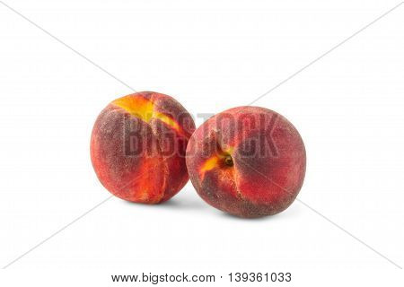 two peaches isolated on white background food fruit summer sweet healthy red delicious