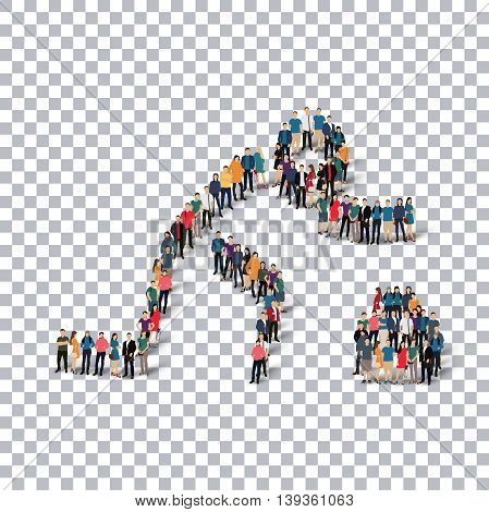 Isometric set of styles, people, sports, curling , web infographics concept of a crowded square, flat 3d. Crowd point group forming a predetermined shape. Creative people.  illustration. transparent background