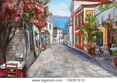 Drawing to the greek town - illustration