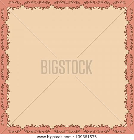 Decorative calligraphic frame. Square pattern design with curves and swirls abstract background