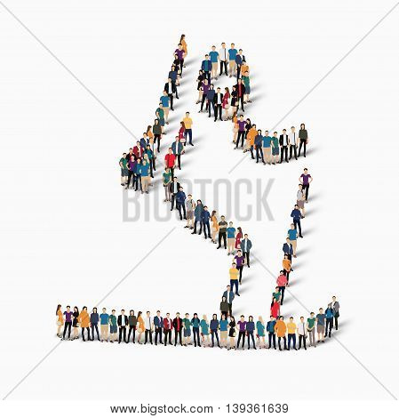 Isometric set of styles, people, sports, biathlon , web infographics concept of a crowded square, flat 3d. Crowd point group forming a predetermined shape. Creative people.  illustration. White background . Isolated.