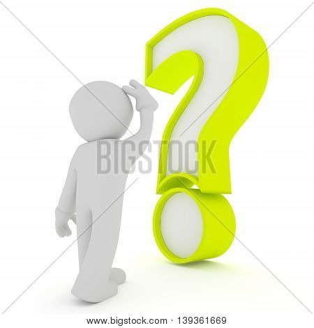 Small man with a big green question mark on a white background 3d rendering