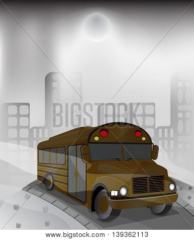 illustration yellow bus in high polluted city