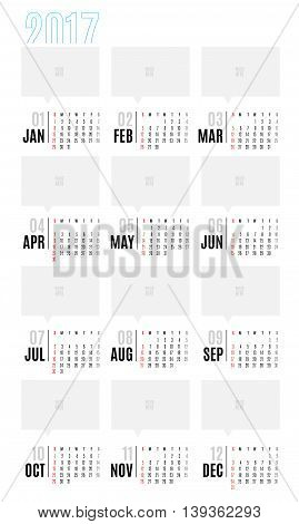 Vector Of Calendar 2017 Year ,12 Month Calendar With Simple Basic Style,week Start At Sunday,templat