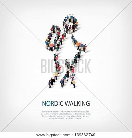 Isometric set of styles, people, sports, nordic walking , web infographics concept  illustration of a crowded square, flat 3d. Crowd point group forming a predetermined shape. Creative people.