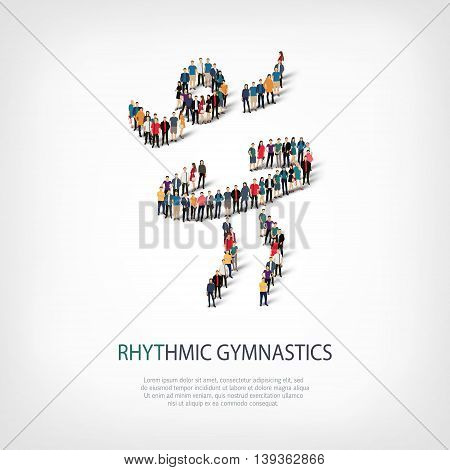 Isometric set of styles, people, sports, rhythmic gymnastics , web infographics concept  illustration of a crowded square, flat 3d. Crowd point group forming a predetermined shape. Creative people.