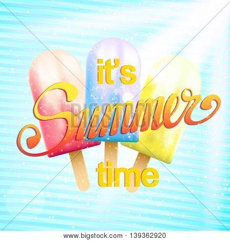 Summer poster. Flyer for a summer beach party. Sunny summer background. Hot summer days. Summer vacation.