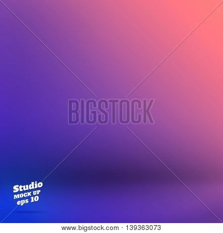 Vector,empty Studio Room Background With Purple And Blue Material Design Gradient Style Color ,templ