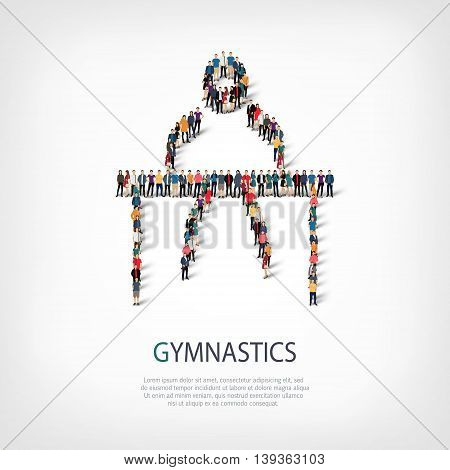 Isometric set of styles, people, sports, gymnastics, web infographics concept of a crowded square, flat 3d. Crowd point group forming a predetermined shape. Creative people.  illustration.