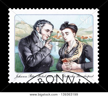 GERMANY - CIRCA 1985 : Cancelled postage stamp printed by Germany, that shows Johann Peter Hebel.