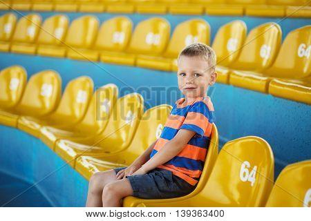 Child Take Own Seat In The Stadium Or Dolphinarium