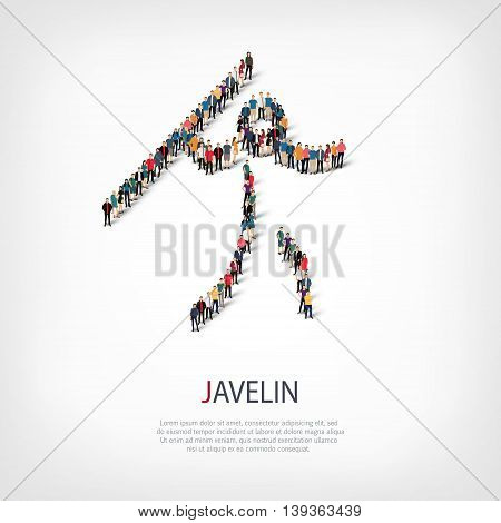 Isometric set of styles, people, sports, javelin , web infographics concept  illustration of a crowded square, flat 3d. Crowd point group forming a predetermined shape. Creative people.
