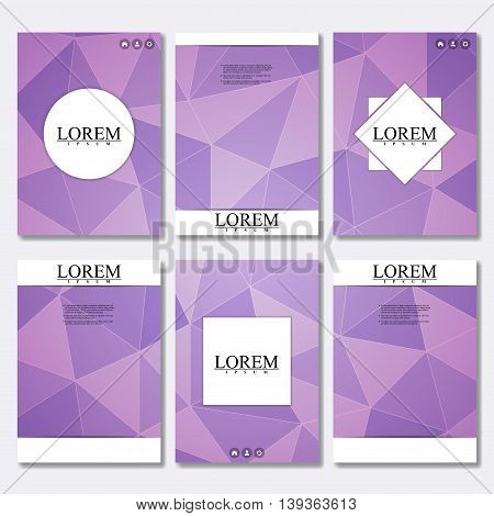 Vector brochure template, flyer, cover magazine in A4 size. Business abstract background with triangles. Vector design illustration.