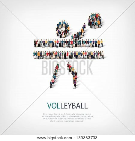 Isometric set of styles, people, sports, volleyball , web infographics concept  illustration of a crowded square, flat 3d. Crowd point group forming a predetermined shape. Creative people.