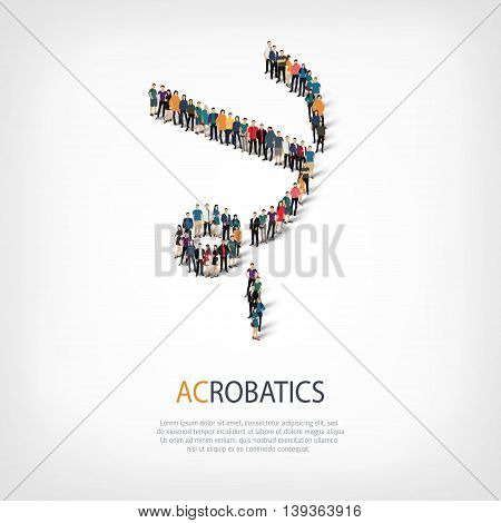 Isometric set of styles, people, sports, acrobatics , web infographics concept of a crowded square, flat 3d. Crowd point group forming a predetermined shape. Creative people.  illustration.