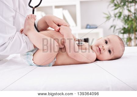 Children's medical examination baby care, close up