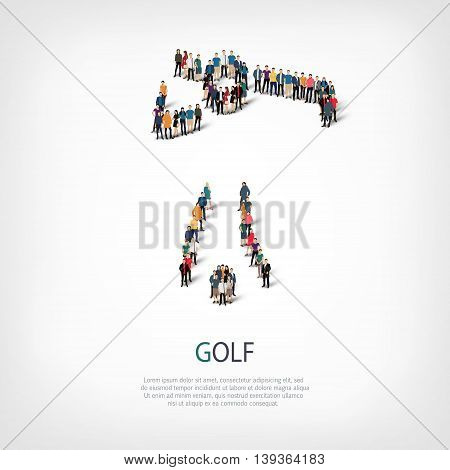 Isometric set of styles, people, sports, golf , web infographics concept of a crowded square, flat 3d. Crowd point group forming a predetermined shape. Creative people.  illustration.