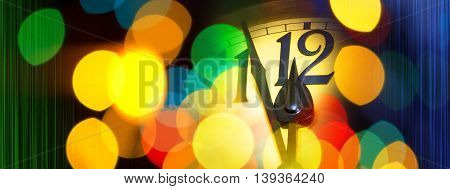 face of new year clock with colored decoration and colored stripes