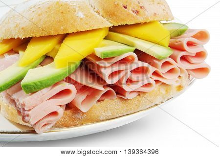 Long Ciabatta Sandwiches with ham avocado and cheese