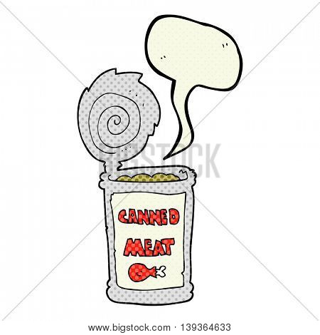 freehand drawn comic book speech bubble cartoon canned meat
