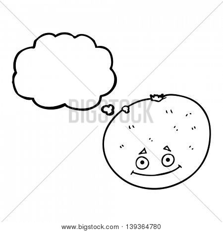 freehand drawn thought bubble cartoon orange