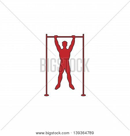 Horizontal bar and man. Red flat simple modern illustration icon with stroke. Collection concept vector pictogram for infographic project and logo