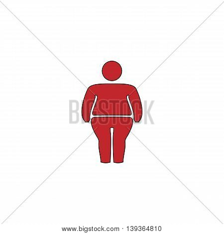 Overweight man symbol. Red flat simple modern illustration icon with stroke. Collection concept vector pictogram for infographic project and logo