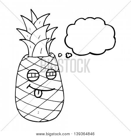 freehand drawn thought bubble cartoon pineapple