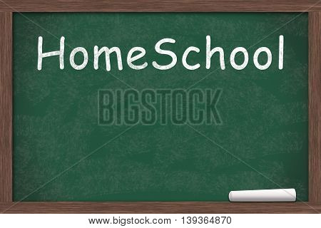 Chalkboard with text of HomeSchool with a piece of chalk with copy-space, 3D Illustration