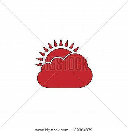 Sun cloud. Red flat simple modern illustration icon with stroke. Collection concept vector pictogram for infographic project and logo
