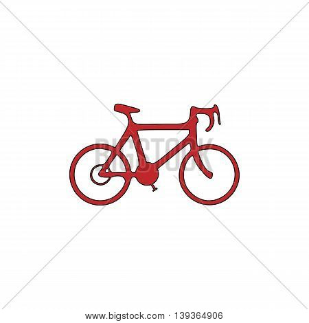 Bicycle. Red flat simple modern illustration icon with stroke. Collection concept vector pictogram for infographic project and logo