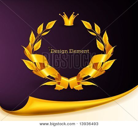 Design Element, Emblem gold eps10