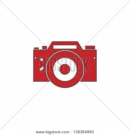 Digital photo camera Red flat simple modern illustration icon with stroke. Collection concept vector pictogram for infographic project and logo